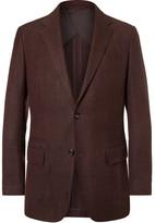 Ermenegildo Zegna Burgundy Mélange Wool, Silk And Linen-blend Blazer - Burgundy