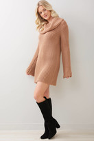 BB Dakota Couldn't Be Sweater Cowl Neck Sweater Dress Tan XS