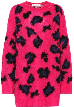 Valentino Leopard mohair-blend sweater