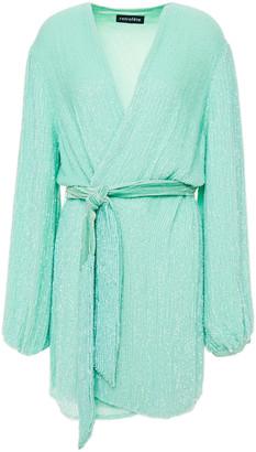 retrofete Gabrielle Velvet-trimmed Sequined Chiffon Mini Wrap Dress