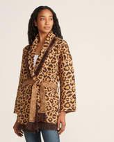 John & Jenn John + Jenn Long Sleeve Fringe Trim Leopard Cardigan
