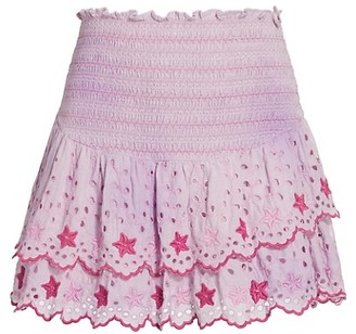 LoveShackFancy Tala Smocked & Eyelet Mini Skirt