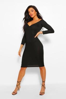 boohoo Rib Off The Shoulder Midi Dress