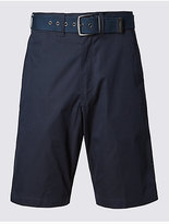 M&S Collection Cotton Rich Lightweight Belted Shorts