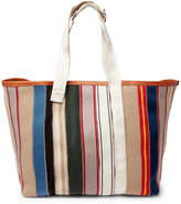 Maison Margiela Leather-Trimmed Striped Canvas Tote Bag