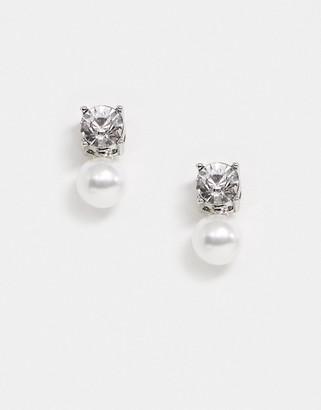 True Decadence stud earrings in pearl and crystal