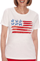 Sag Harbor American Dream Short-Sleeve Flag-Print Top