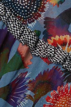 Saloni Pixie Belted Floral-print Silk Crepe De Chine Mini Dress - Blue