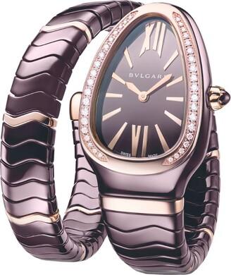 Bvlgari Rose Gold, Brown Ceramic and Diamond Serpenti Spiga Quartz Watch 35mm