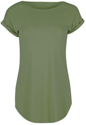 ESAILQ Tops Womens Casuasl Hem Plain Round Neck Turn Up Cap Sleeved T-Shirt Green