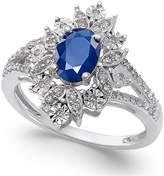 Macy's Sapphire (1 ct. t.w.) and Diamond (1/5 ct. t.w.) Ring in 14k White Gold
