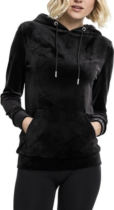 Urban Classics Women's Ladies Velvet Hoody Hooded Sweatshirt