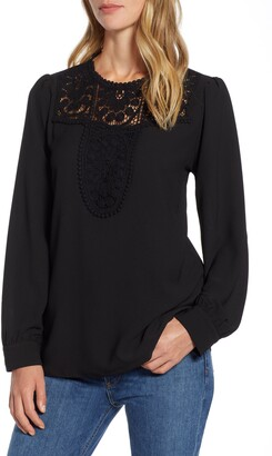 Halogen Lace & Crepe Blouse