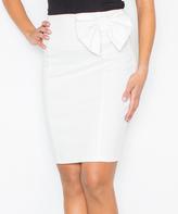 Ecru Bow-Accent Pencil Skirt
