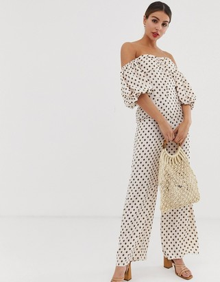 Glamorous jumpsuit with puff sleeves in floral polka dot
