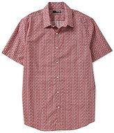 Murano San Francisco Collection Short-Sleeve Slim-Fit Point Collar Geo Print Poplin Bridges Shirt