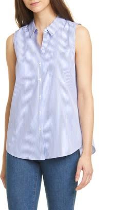 Nordstrom Signature Stripe Sleeveless Poplin Shirt