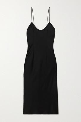 Saint Laurent Satin Midi Dress - Black
