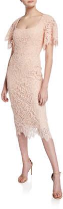 Lela Rose Open-Neck Flutter-Sleeve Lace Sheath Dress