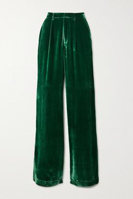 Reformation Wes Velvet Wide-leg Pants - Green
