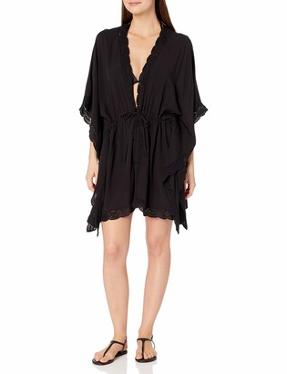 La Blanca Women's Crochet Trim Kimono Swimsuit Cover Up
