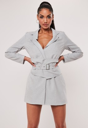 Missguided Grey Belted Blazer Dress