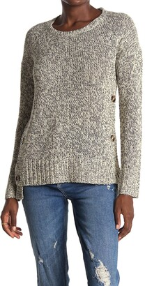 Modern Designer Marled Side Button Crew Neck Tunic Sweater
