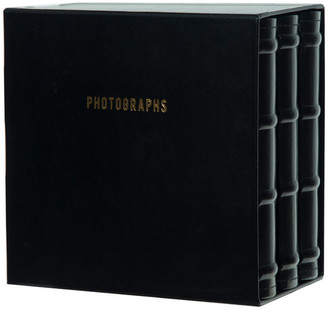 Pinnacle Premium Leather Photo Albums, Holds 120 4x6 Photos, Set of 3, Black