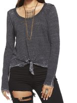Chaser Women's Triblend Jersey Tie Front Long Sleeve Scoop Neck -