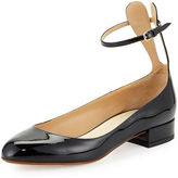 Francesco Russo Patent Ankle-Strap Ballerina Flat with Bunny Ears