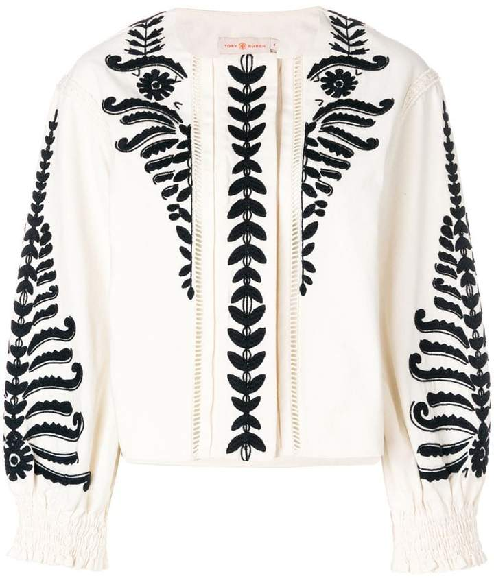 Tory Burch embroidered cropped jacket