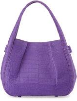Nancy Gonzalez Crocodile Pleated Shoulder Bag, Purple
