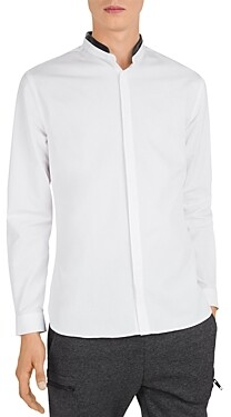 The Kooples Leather Trimmed Slim Fit Button-Down Shirt