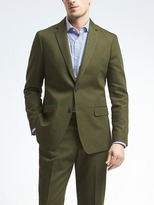Banana Republic Slim Olive Cotton Linen Suit Jacket