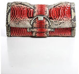 Sergio Rossi NWT Red Gray Tan Python Skin Large Buckle Detail Clutch Handbag