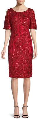 Alex Evenings Floral Embellished Sheath Dress