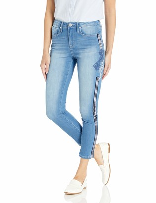 "Seven7 Women's HIGH Rise Embroidered Side Seam 26"" Tower Skinny"