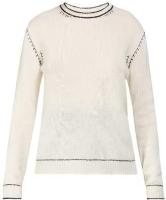 Marni Contrast-stitch Cashmere Sweater - Womens - White Navy