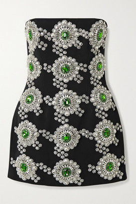 David Koma Crystal-embellished Crepe Mini Dress - Black