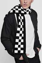 Boohoo Mens Checkerboard Oversized Football Scarf in Black size One Size