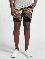 Scotch & Soda Tropical Print Chino Peached Cotton Shorts, Black