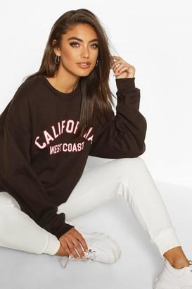 boohoo California Slogan Oversized Sweatshirt