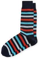 Neiman Marcus Multicolor-Stripe Mercerized Socks
