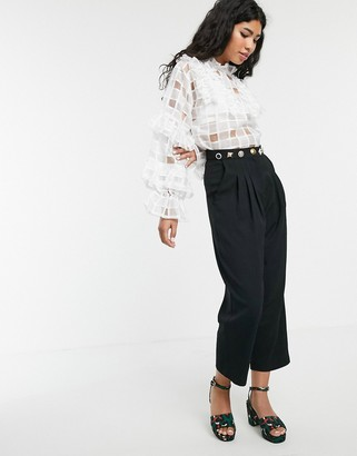 Sister Jane tailored cigarette pants with ornate waistband