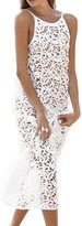 Yacun Women's Lace Sleeveless Beach Slip Maxi Dress M
