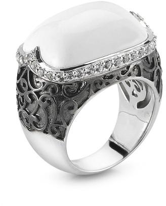 Delatori By Alor Silver & Rhodium 19.00 Ct. Tw. White Agate & Crystal Ring