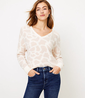 LOFT Animal Spotted V-Neck Sweater