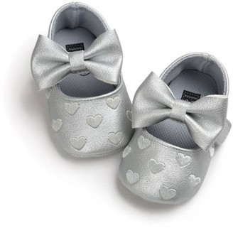 Maynos Newborn Baby Girl Soft Crib Shoes with Bow-knot Design,Infants Anti-slip Sneaker First Walkers