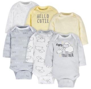 Gerber Baby Boy or Girl Gender Neutral Onesies Long Sleeve Bodysuits, 6-Pack
