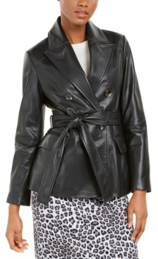Tahari Double-Breasted Leather Belted Jacket
